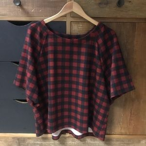 BOBEAU Black & Red Check Cropped Sweater